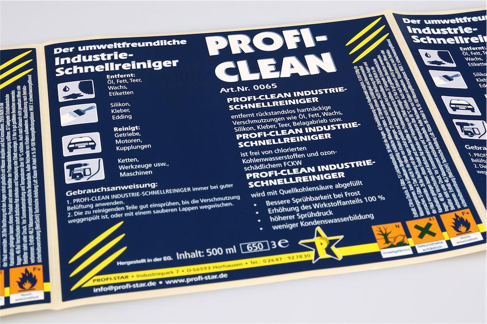 Bedrukte zelfklevende etiketten en folie-etiketten van polypropeen of Polyethylen op rol van unieketiket.nl voor chemische producten